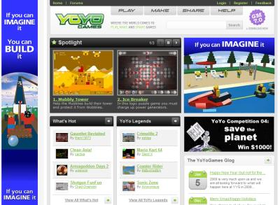 The YoYo Games homepage - over 28,000 games