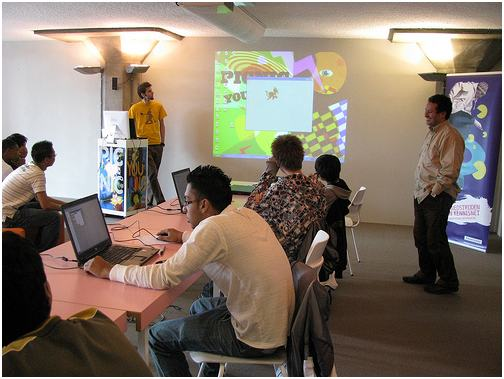 Make-a-Game workshop organised by the Kennisnet Foundation at Picnic Young in Amsterdam September 2008.  <a href=