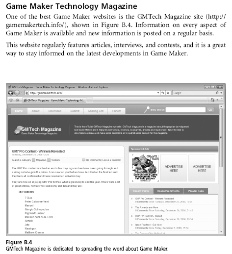 Game Maker Technology Magazine gets a mention in the Appendix of Getting Started with Game Maker