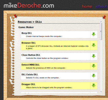 Mike Deroche has created a wide variety of Game Maker DLLs