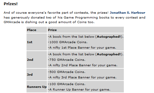 Prize list for the second GMArcade.com contest