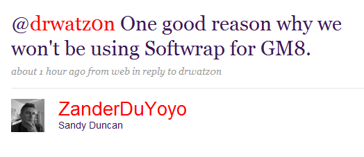 Softwrap will not be used in Game Maker 8!
