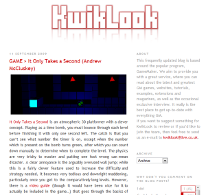 Darren Poole's Kwiklook Game Maker games blog