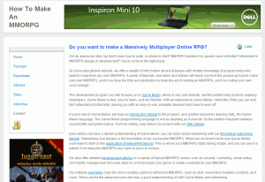 make an mmorpg homepage 300x206 How to Make a MMORPG in Game Maker