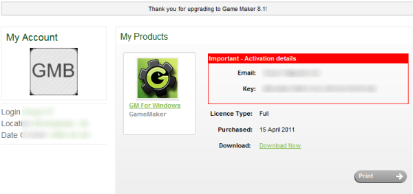 GameMaker 8.1 License key at the YoYo Game Store